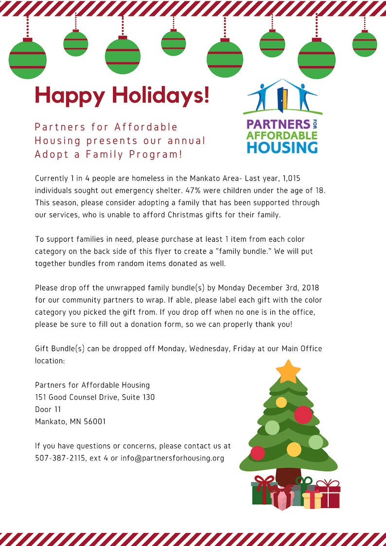 Adopt A Family For Christmas.Adopt A Family 1 Partners For Affordable Housing