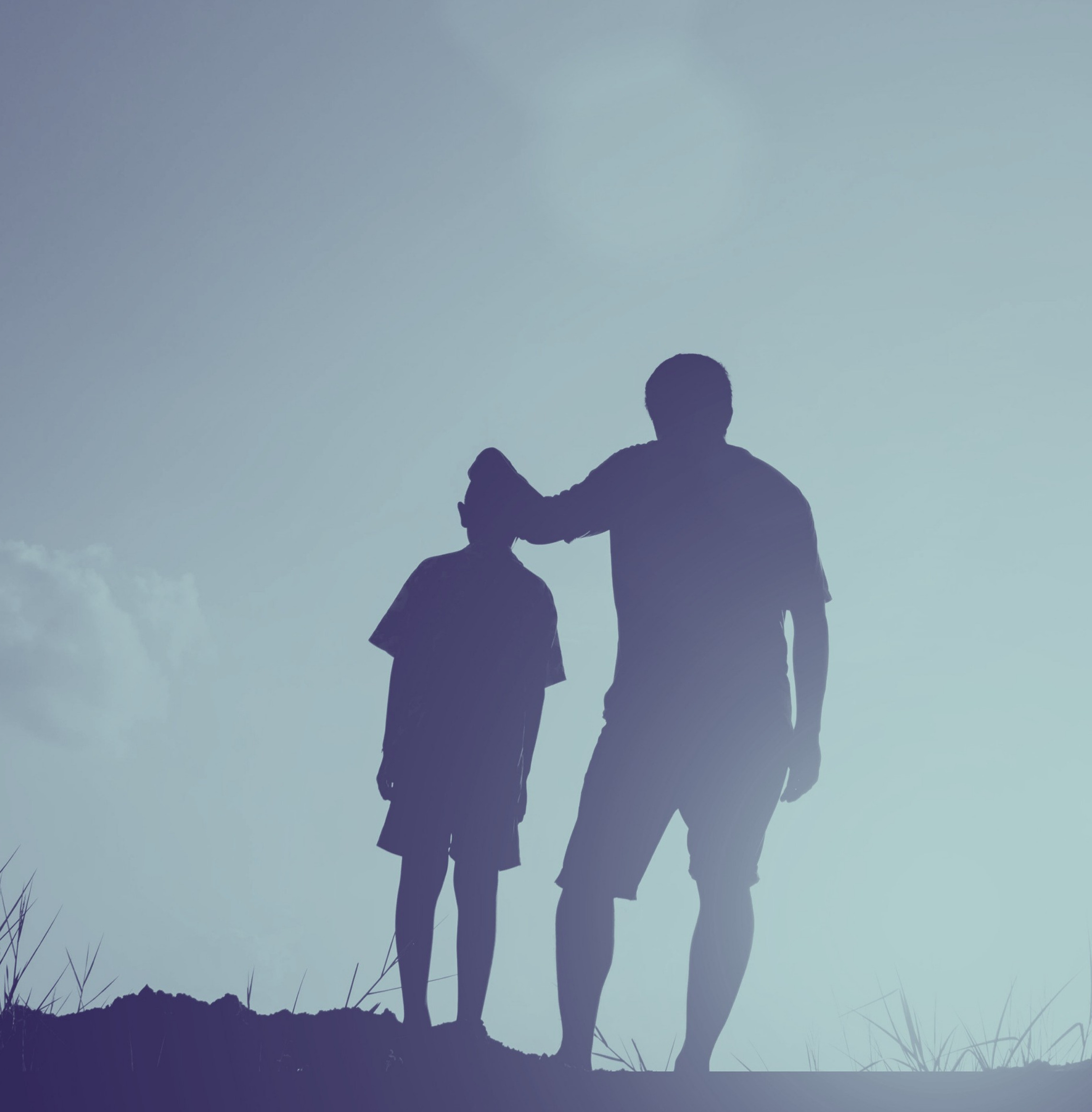 Silhouette Man And Son
